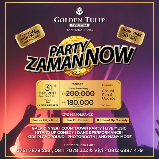 Golden Tulip Party Zaman Now Deal