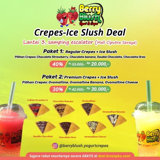 Berry Blush Yogurt Crepes - Ice Slush Deal