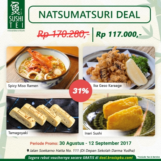Sushi Tei Natsumatsuri Deal (monday-friday)