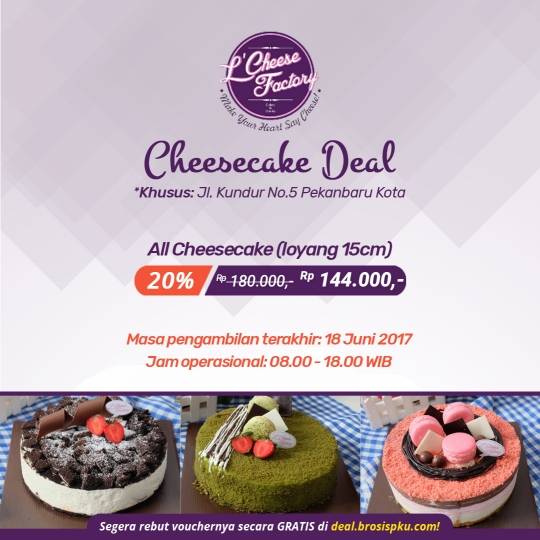 Lcheese Factory Cheesecake Deal